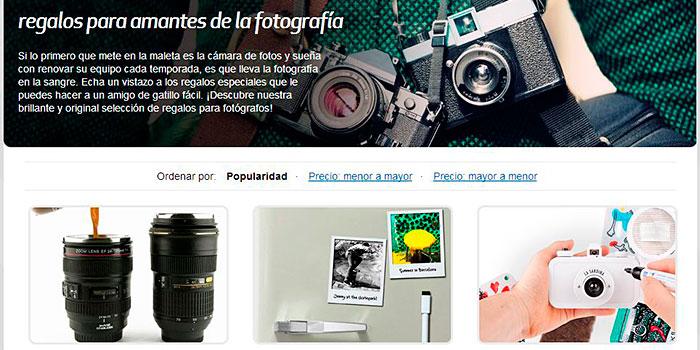 Una página con regalos especilaes pensados para fotógrafos