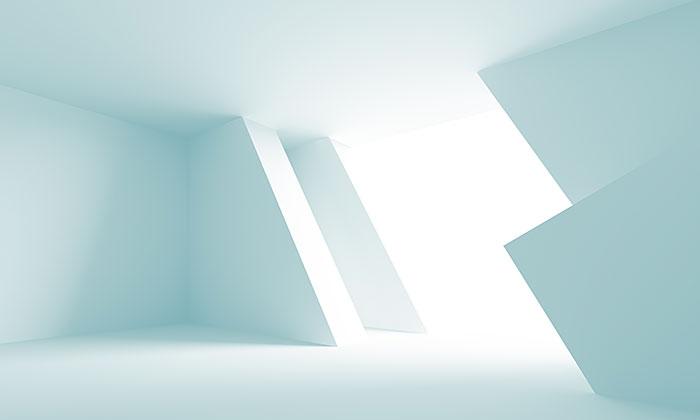 Ilustración 3D de fondo azul arquitectura futurista- Foto de Maxkrasnov-  Depopsitphotos