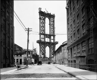 Puente de Manhattan en construcción